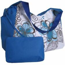 Large Beach Bag Blue Flowers with Side Pockets, big tote holiday huge shoulder