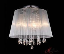 Deckenlampe Stoff 40cm Weiß Kristall Rund Deckenleuchte 4x40W Lampe Leuchte E14