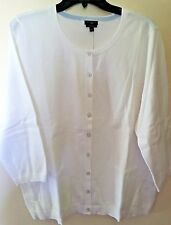 "NWT-MINT! TALBOTS Pima Cotton Blend ""Charming"" Cardigan-Plus 1X-White"