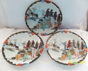 Vintage Japanese Hand Drawn & Painted 3 12.5cm Plates/Saucers  Red Makers Mark
