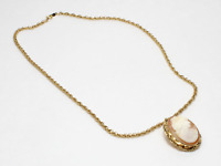 1/20 12K Gold Filled GF Signed AC Co Rope Chain Necklace w/GF Cameo Pendant