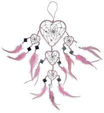 NEU 12 / 40 cm Herz Traumfänger Dreamcatcher rosa/silber TF45