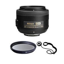 Nikon AF-DX NIKKOR 35 mm f/1.8G Lente S + UV de 52 mm + Kit de Accesorios
