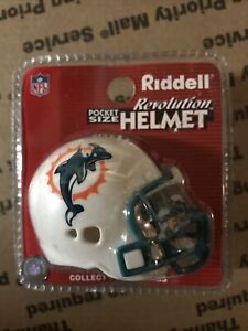 Riddell Revolution Pocket Size White Miami Dolphins New in Clam Shell