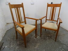 pair,antique,arts and crafts,large,oak,oversize,arm chairs,hall chairs,chair