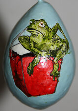 gourd Easter egg, garden or Christmas ornament with frog in Chinese take out