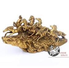 China Brass Copper Lucky Feng Shui Nine Horses sculpture Horse Art Statue