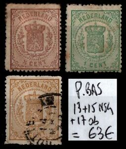 PAYS BAS : Timbres n°13 15 et 17, Neufs et Oblitérés = Cote 63 € / Lot ETRANGER