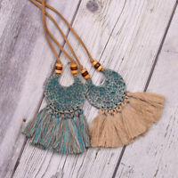 Vintage Bohemian Boho Fabric Tassel Long Sweater Chain Ethnic Pendant Necklace