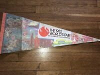 Vintage 1982 World's Fair Knoxville Tennessee Wall Pennant w/CARTOON CHARACTERS