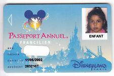 DISNEY PARIS PASS CARTE / CARD .. PASSEPORT ANNUEL FRANCILIEN ENFANT SPEOS 00/05