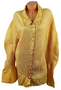Designs Todays yellow long bell sleeves buttoned down satiny crinkle top 3X