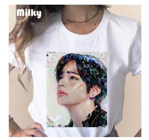 2021 Kpop Unisex women BTS Bangtan Boys face Print T-Shirt top hot Summer butter