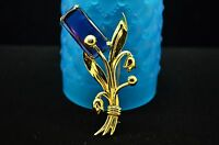 925 STERLING SILVER LARGE GOLD TONE FLORAL BUNCH PURPLE CZ PIN BROOCH #18054