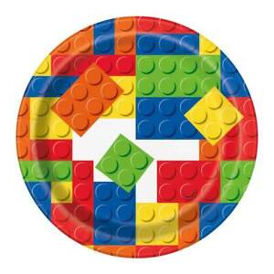 "Building Blocks 7"" Plates - Pack of 8"