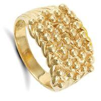 Gelbgold Keeper Ring Herren 5 Reihen Solid 9 Karat Punziert Britisch Hergestellt