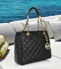MICHAEL KORS 100% Authentic Quilted Black Lamb Leather Susannah Satchel Bag BNWT