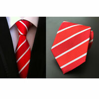 New Red White Stripe Mens Chinese Silk Tie Wedding UK Seller Father Son Suit