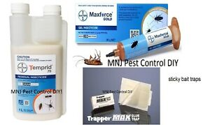 Temprid  1L Cockroaches Ants Spiders Fleas Maxforce Gold Gel + 2 sticky traps