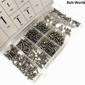 410 x STAINLESS STEEL ASSORTED BOX OF PAN PHILLIPS HEAD SELF TAPPING SCREWS