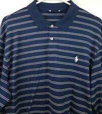Polo Golf Ralph Lauren Pro Fit Men Large Navy Blue White Striped L/S Pima Cotton
