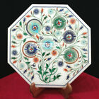 12'' White Marble Tiles/Plate Gemstone Malachite Inlay Kitchen Decor H3712