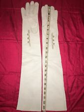 Long White Leather Unlined Opera Gloves, Size 8 NWOT