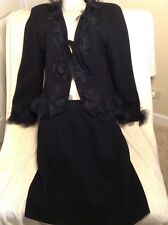 Fabulous Moschino Cheap And Chic Black 100% Wool Suit W Lacy Trim Size 44
