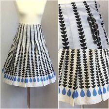 White Stuff Ladies White Black Blue 50s Retro High Waist Full Skirt UK 12/14