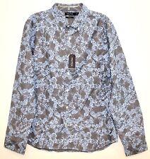 Nautica Mens XL Blue Gray Floral Cotton Slim Button-Front Shirt NWT $69 Size XL