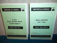 MATHS - 7-10's BASIC NUMBER WORK IN KEY STAGE 2 - 2 x VHS PAL (UK) VIDEOS - RARE