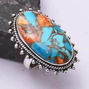 Turquoise Ethnic Handmade Ring Jewelry US Size-7.5 AR 44777
