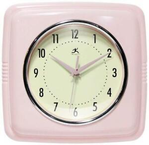 Infinity Instruments Square Retro Clock, Rose Blush - Silent Movement