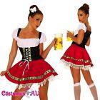 Ladies Beer Maid Costume Wench German Heidi Oktoberfest Gretchen Red Fancy Dress