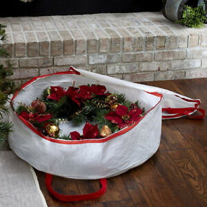 """Large Christmas Wreath and Decoration Storage Container Bag Xmas Items up to 30"""""""