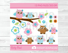 Pink & Turquoise Woodland Owl Clipart