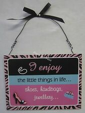 Pink 3 Dimensional Hanging Plaque Wall Sign I Enjoy the Little Things in Life