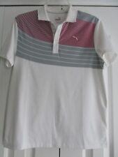 Puma Golf Boys Size L Pink+Gray Chest Stripe Short Sleeve Golf Shirt