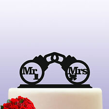 Handcuff Mr & Mrs Acrylic Wedding Cake Topper Decoration & Keepsake