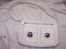 PERLINA New York Women's Bright White Leather Small Handbag Purse Sliver Accents