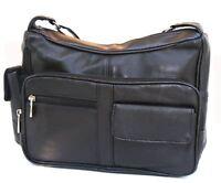 New Black Genuine Leather Womens Design Handbag Purse Shoulder Bag  Many Pockets