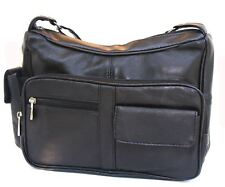 New Black Genuine Leather Womens Design Handbag Purse Shoulder Bag  Many Pockets