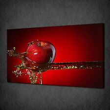 RED APPLE IN THE WATER KITCHEN CANVAS WALL ART PRINT PICTURE READY TO HANG