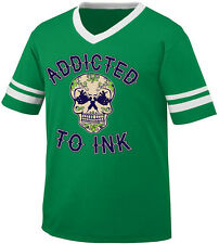 Addicted To Ink Skull Tattoo Artist Gun Flowers Hearts Men's V-Neck Ringer Tee