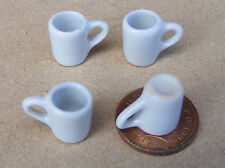 1:12 Scale 4 White Ceramic Mugs Tumdee Dolls House Kitchen Drink Accessory W63a