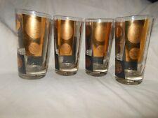 New ListingSet of 4 Cera Black & Gold Coin Design Tumbler Glasses Mid-century Barware 50's