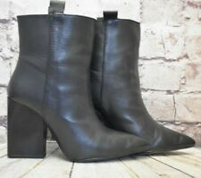Womens Zara Basic Black Leather Pull On High Heel Ankle Boots Size UK 5 EUR 38
