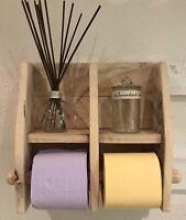 DEROULEUR PAPIER TOILETTE WC 2 ROULEAUX  bois de palette brut - création unique