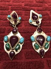 Hanging Turquoise Clip Earrings Marked Sterling Mexico 925