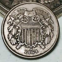 1864 Two Cent Piece 2C FULL MOTTO High Grade Civil War Era Good US Coin CC5268